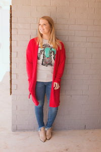 Fuzzy Cardigan (RED)