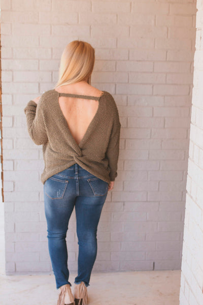 Olive Twist back Sweater Top