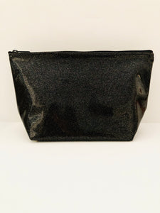 Carli Glitter Cosmetic Bag (Black & Gold)
