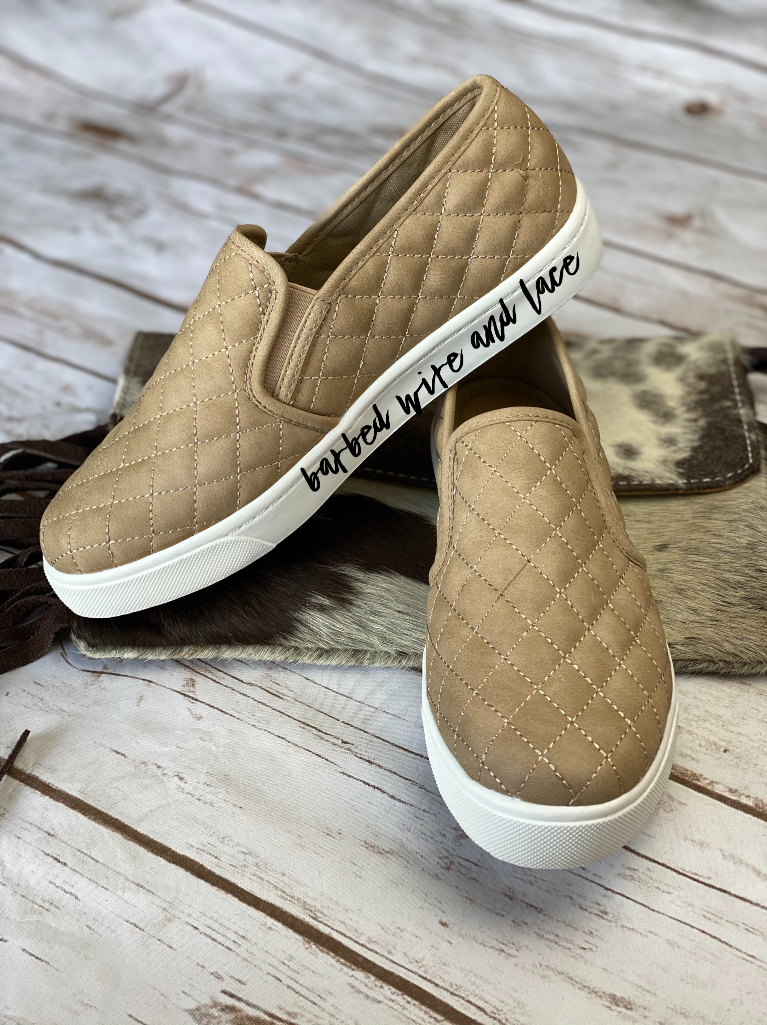 Quilted Slip on Sneakers- Taupe