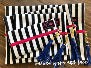 Glam Stripe (Hot Pink Zipper)
