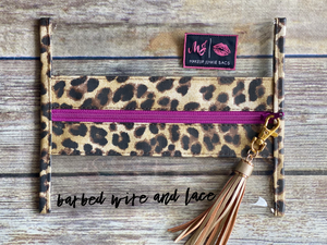Clear MJ Bag (Leopard-Purple Zipper)