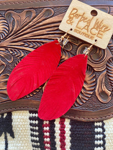 Red America Feather Earrings