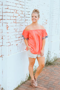 The Temple Tassel Top- Strawberry