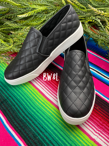 Quilted Slip on Sneakers- Black
