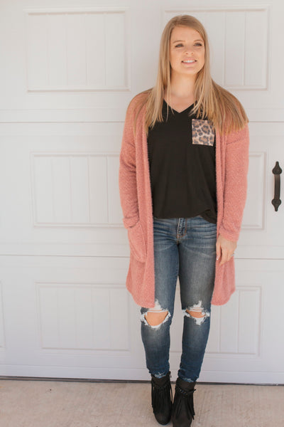 Fuzzy Cardigan (Blush)