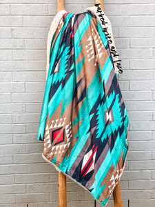 Turquoise Aztec Throw Blanket