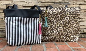 Savannah and Glam Stripe **Reversible** Tote