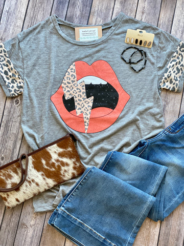 Leopard Thunder Bolt Top
