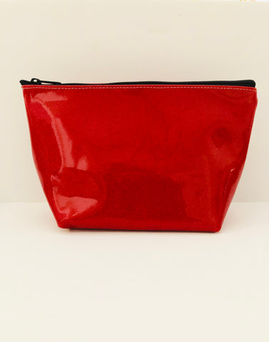 Carli Glitter Cosmetic Bag (Red)