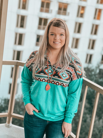Bartlesville Pullover (Turquoise)