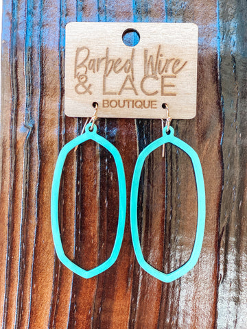 Hoop Earrings (Turq & White)