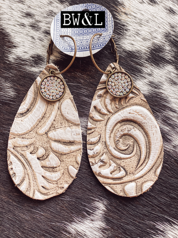 Comanche Leather Earrings - Cream
