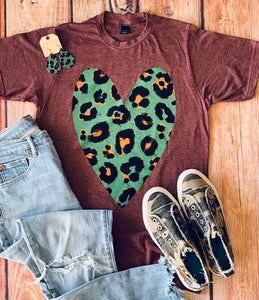 Wild About you Leopard Heart Tee