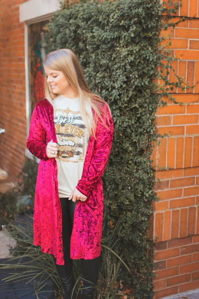 So Chic Velvet Kimono (Ruby Red)