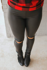 Faux Leather Cut Out Leggings