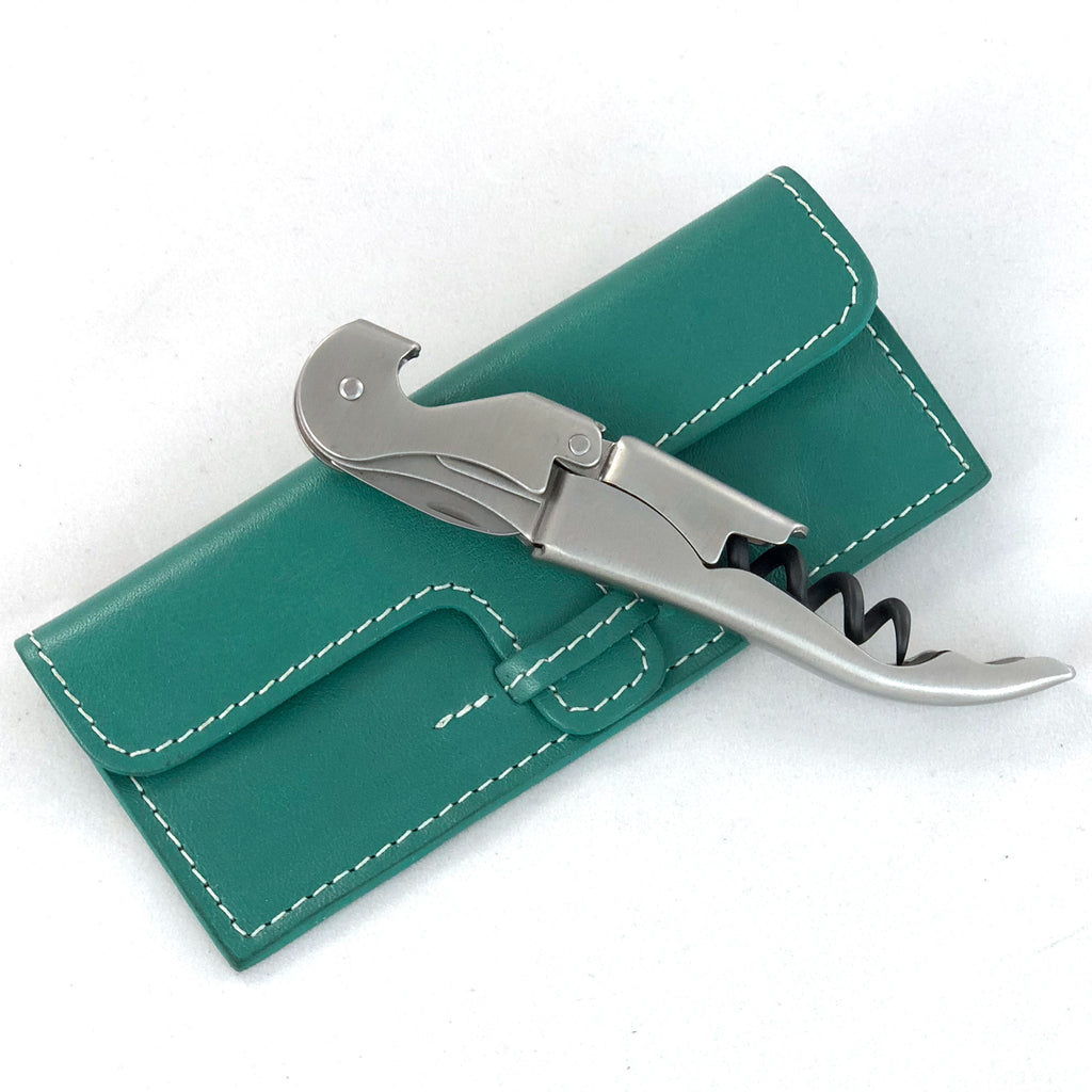 Leather case with stainless steel corkscrew, shown closed from front.