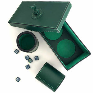 Dice cups and game box in forrest green with dice viewed from the top