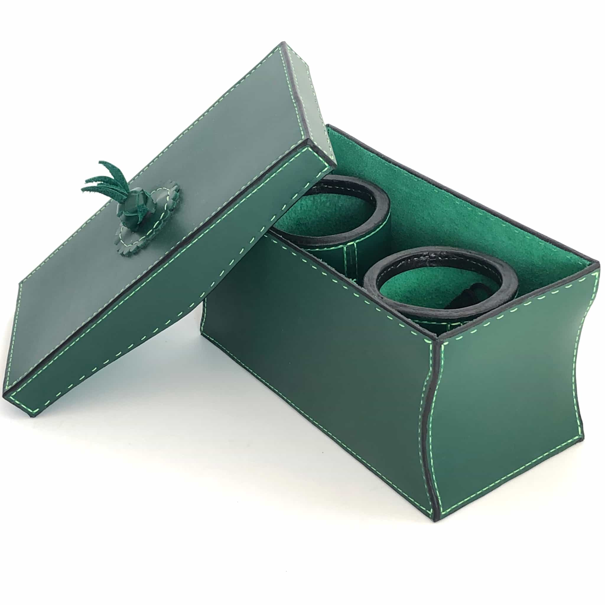 Dice cups and game box in forrest green with lid off