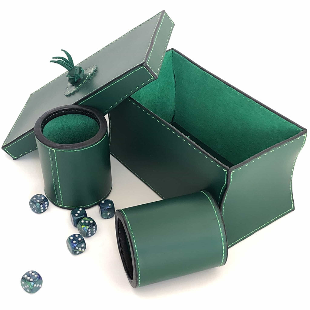Dice cups and game box in forrest green with dice open