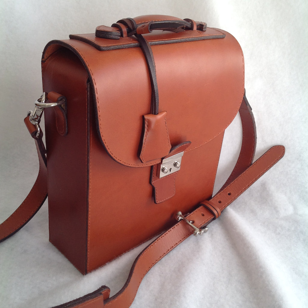Front view of tan Briefcase created completely by hand by Jack Holland