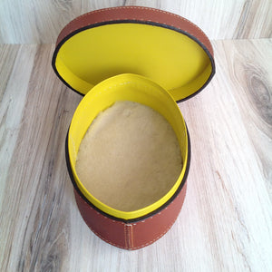 Medium Oval Box with Lid Tan