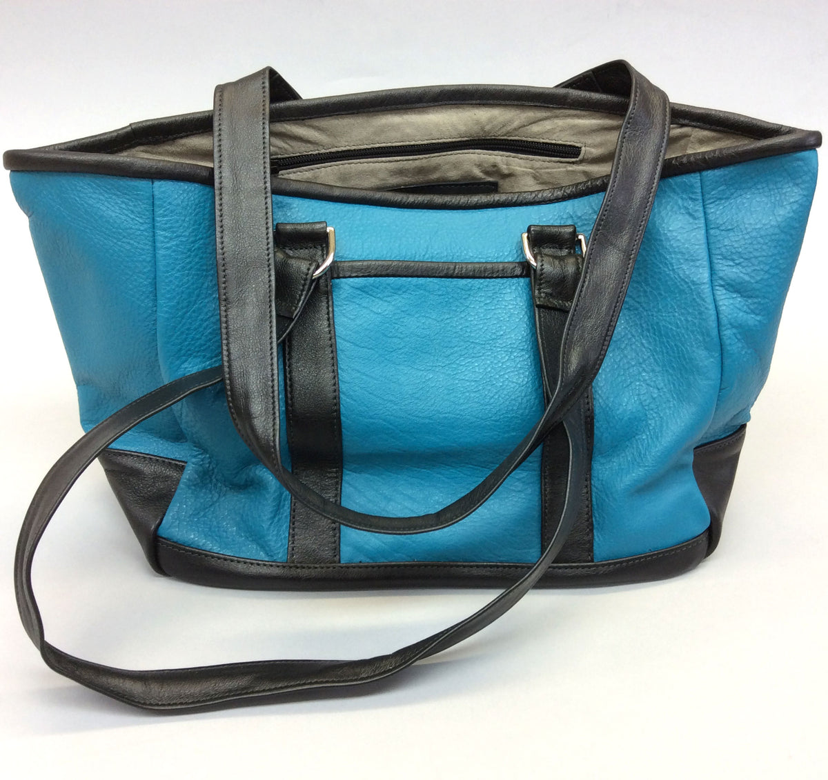 Knight Leather Tote Bag Front Aqua with Black Accent 6967-AQBL