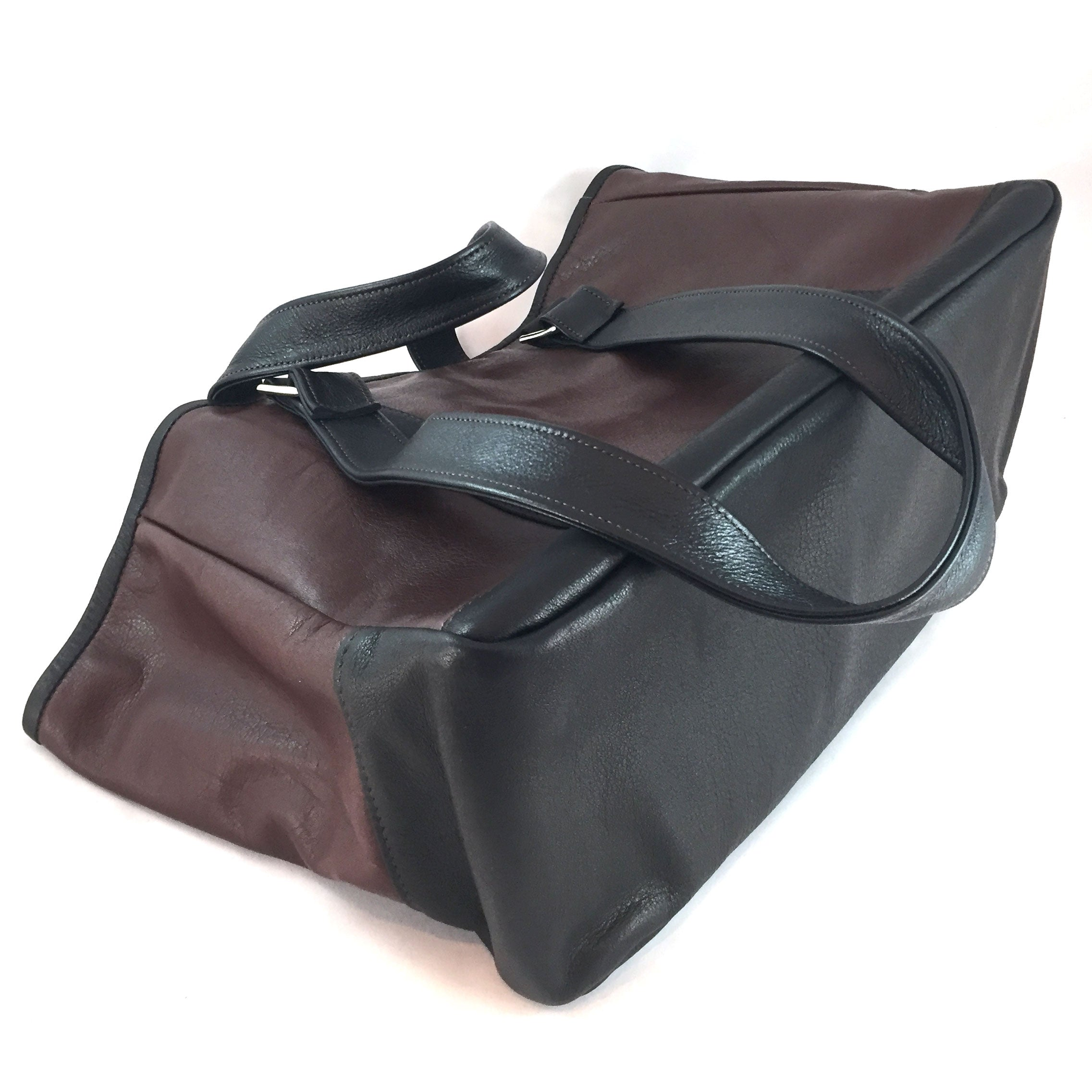 Knight Leather Tote Bag Bottom Brown w Dark Brown Accent 6967-BRDB
