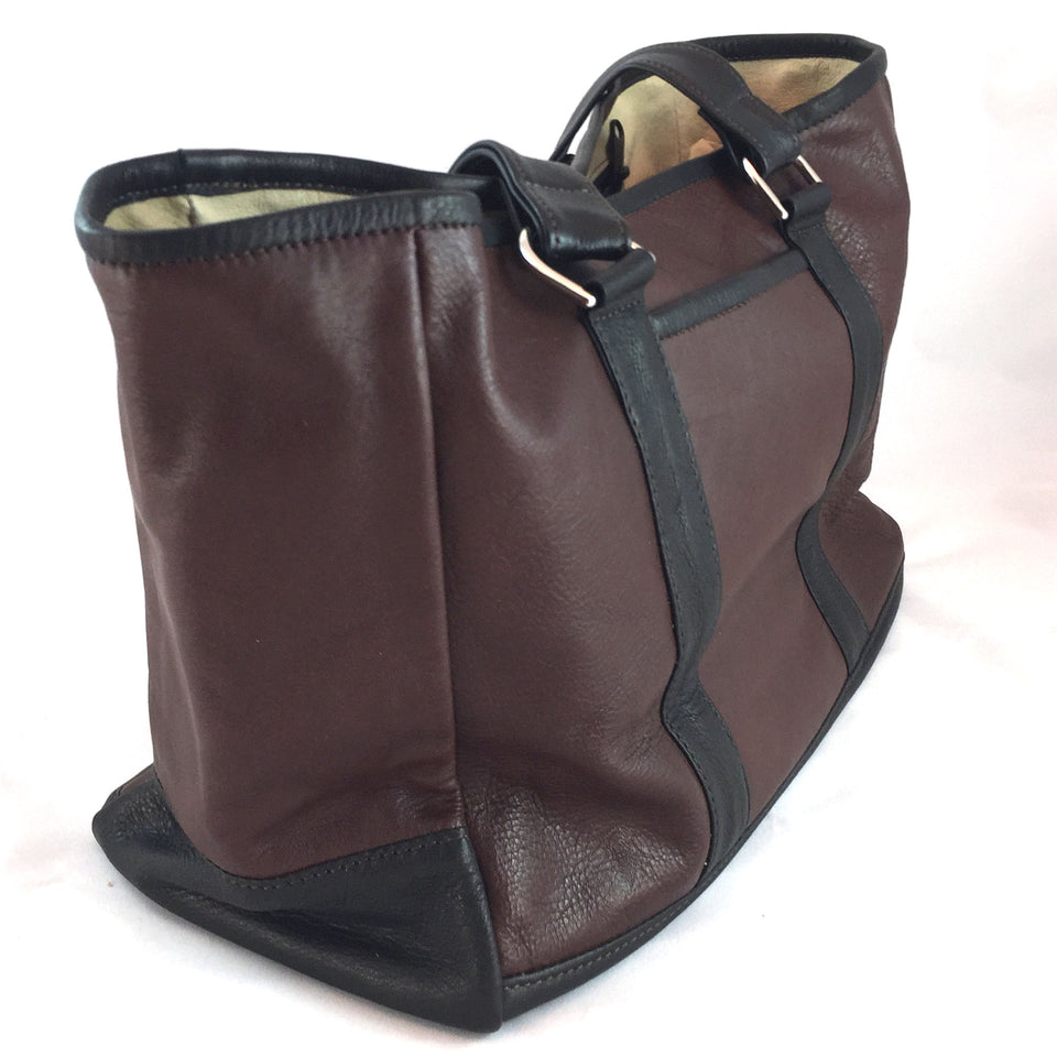 Knight Leather Tote Bag End Brown w Dark Brown Accent 6967-BRDB