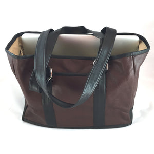 Knight Leather Tote Bag Front Brown w Dark Brown Accent 6967-BRDB