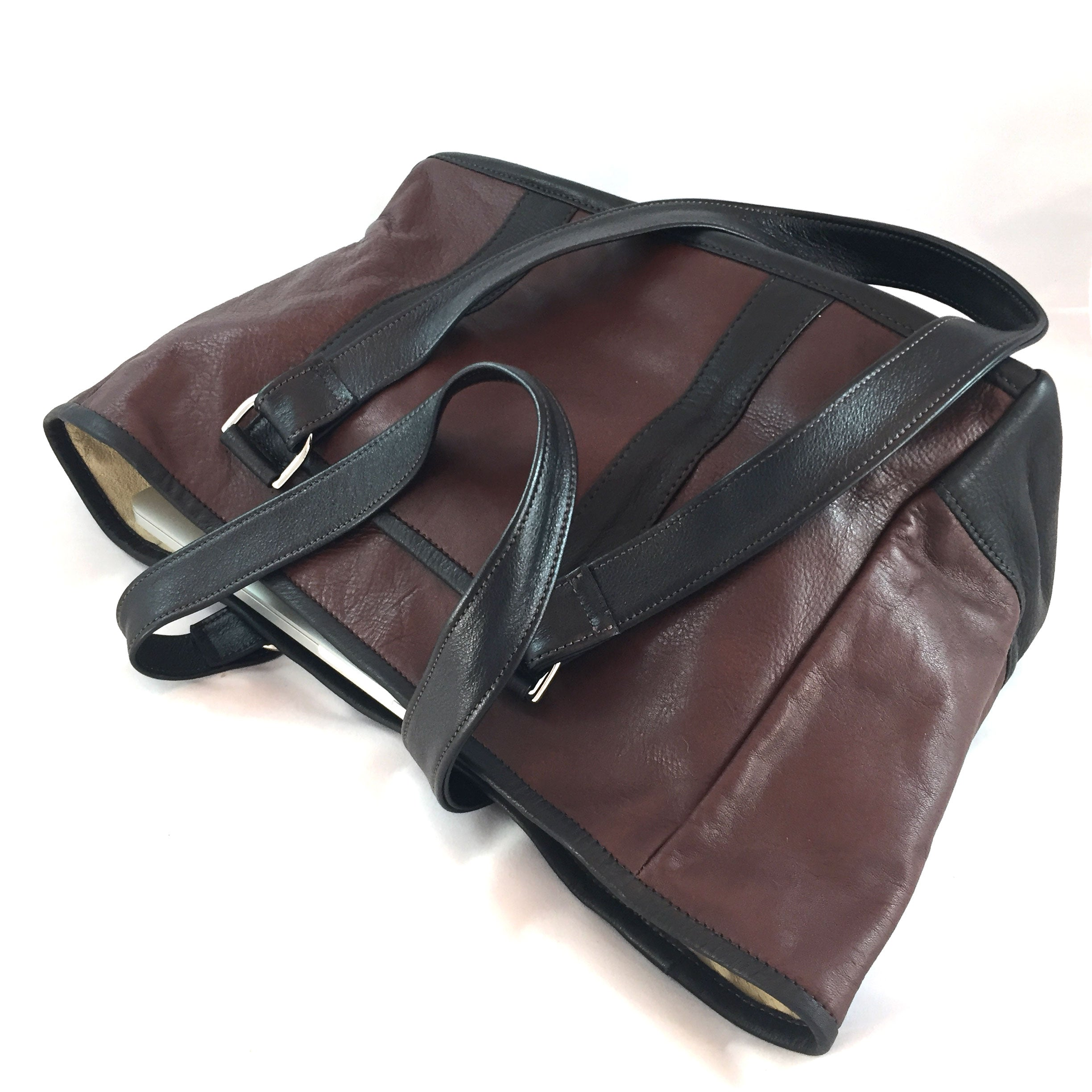 Knight Leather Tote Bag Side Brown w Dark Brown Accent 6967-BRDB
