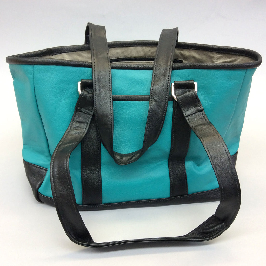 Knight Leather Tote Bag Front Turquoise w Black Accent 6967-TQBK