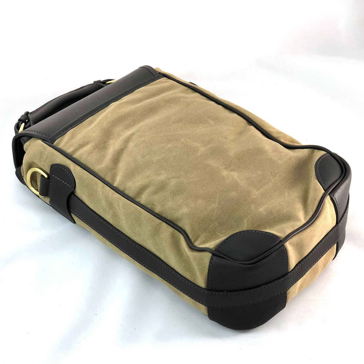 Wine Bottle Carrier Tan wax cotton with Stout Leather Back
