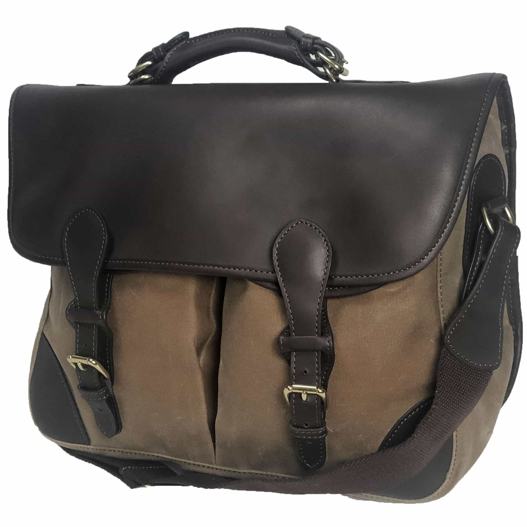 Front and end view of Anglers Bag classic cross body messenger tan wax cotton with dark brown stout leather