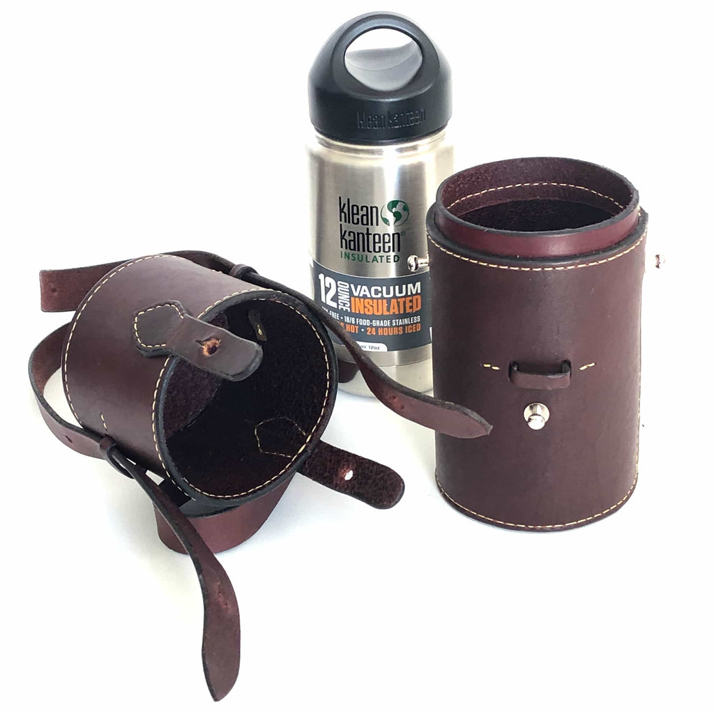 Burgundy latigo leather thermos case with 12 ounce thermos 3 parts of case showing ready to use