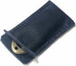 Load image into Gallery viewer, Golf divot tool solid brass with blue aniline leather sleeve, shown inserted.