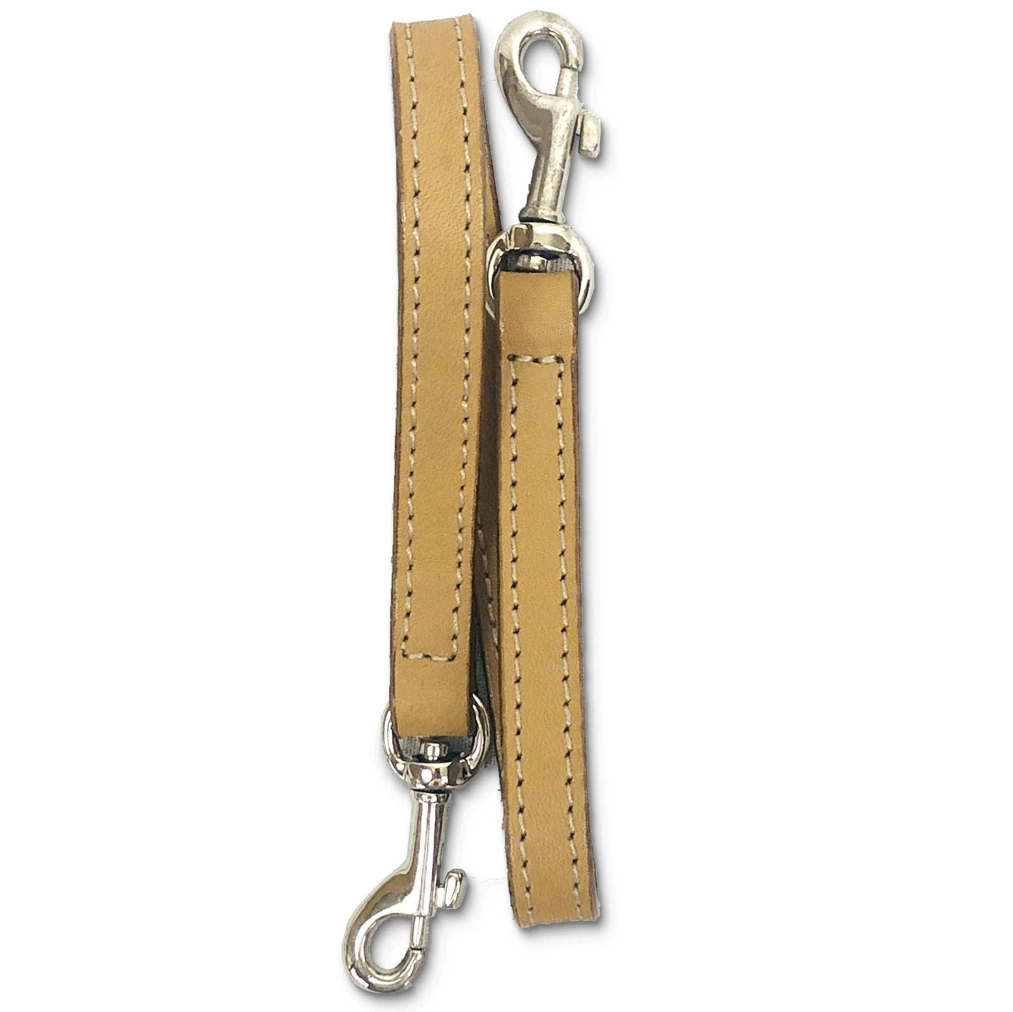 Leather key lanyard in saddle tan folded vertically
