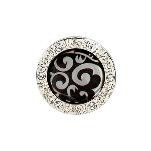 Bling Pattern Silver Swirl on Black Background Key Finder