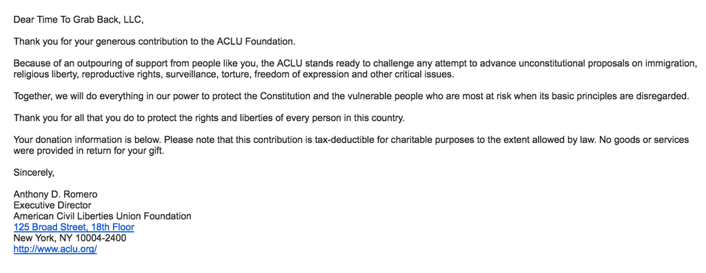 time to grab back aclu charity donation