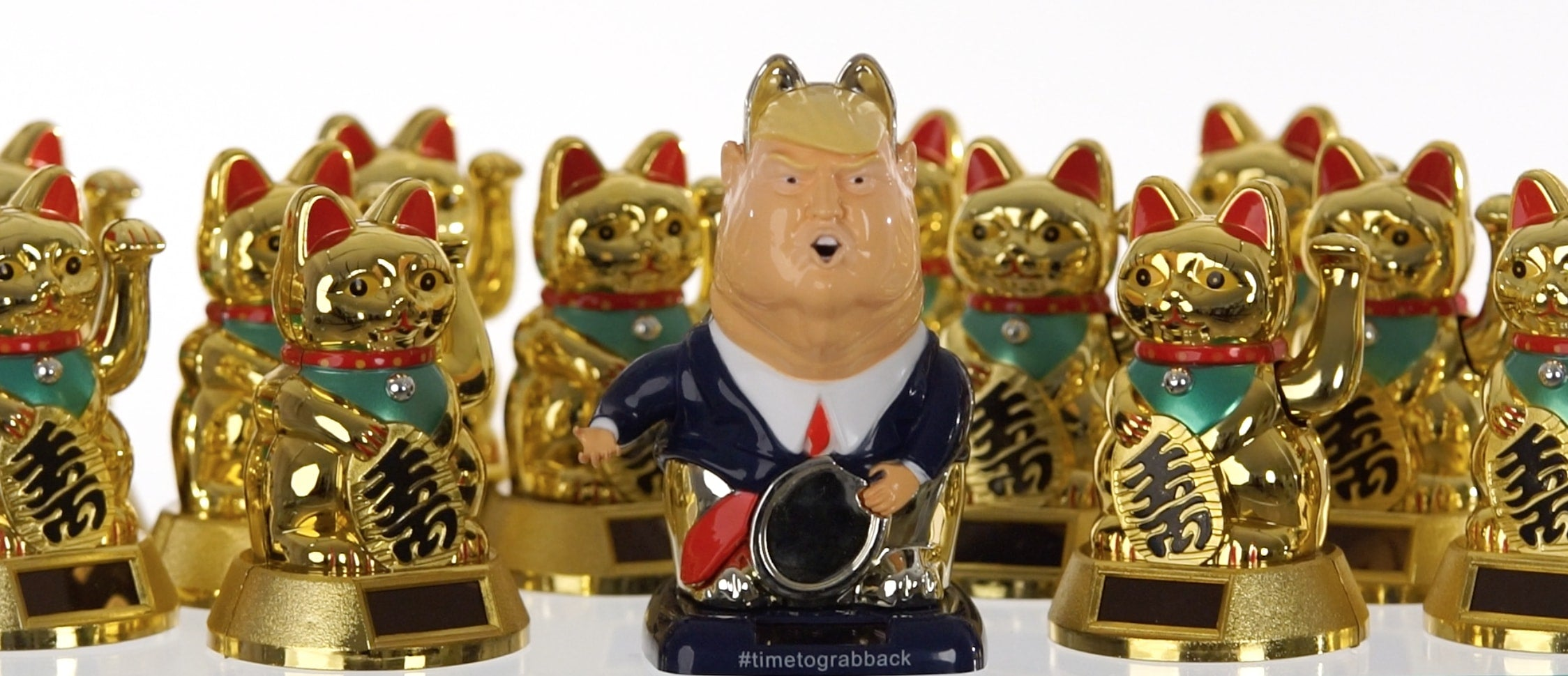 trump action doll political toy maneki necko lucky cat style solar powered charity figure grabhimbythepussycat time to grab back
