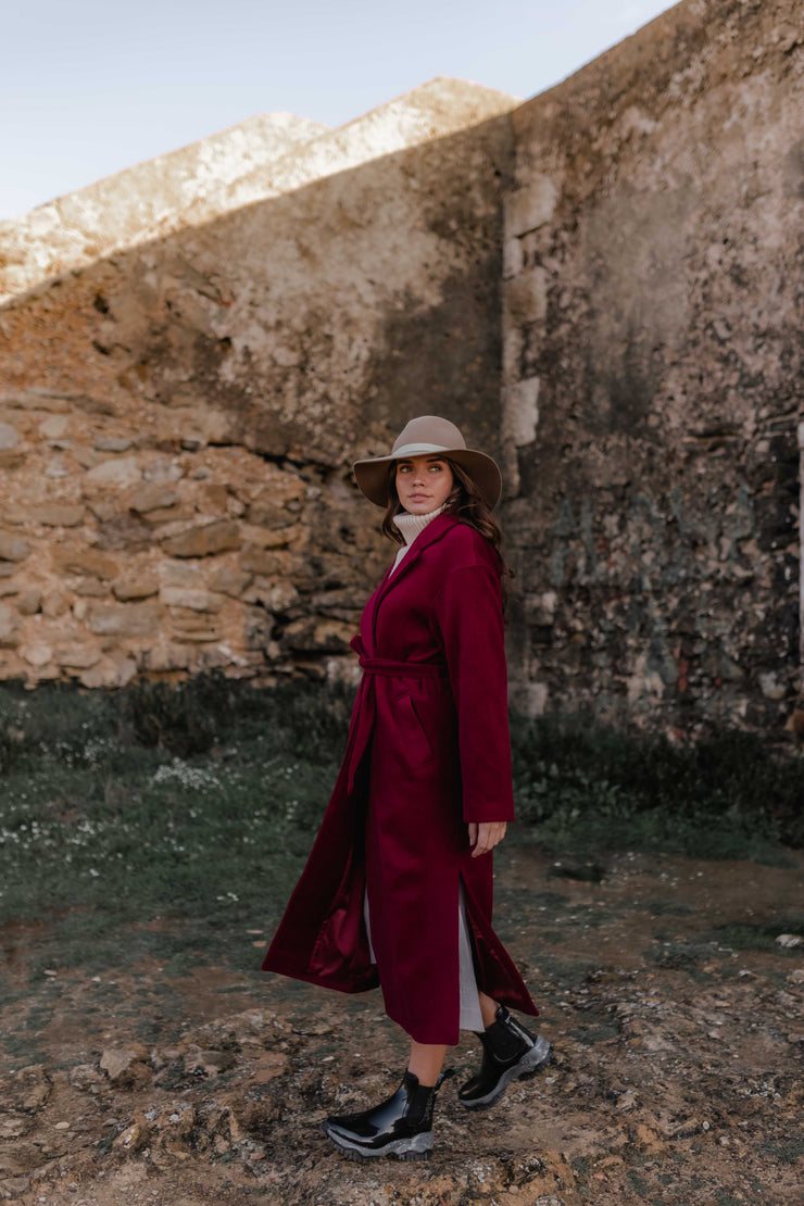 WOOL BLEND COAT WITH BELT RED CARM