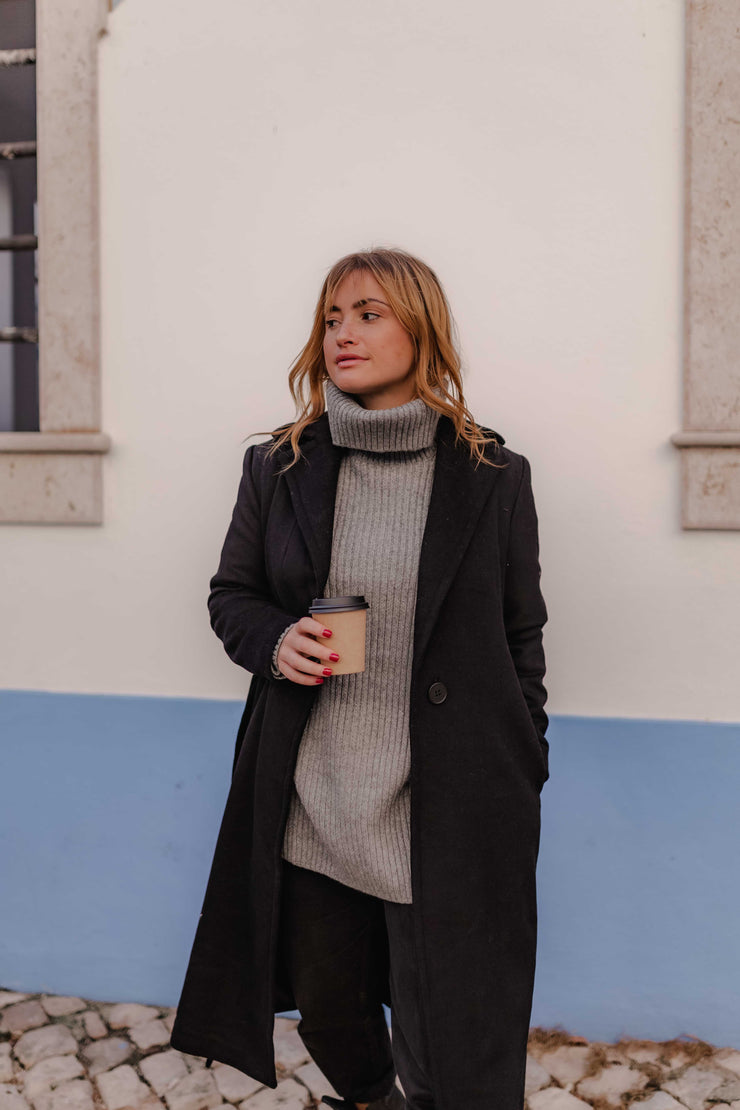 WOOL BLEND COAT BLACK WITH BUTTON