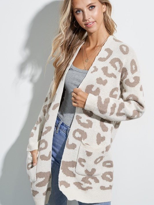 Sweet Fling Pocketed Leopard Cardigan- Ivory
