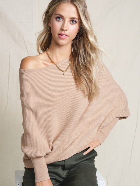 This Time Around Dolman Knit- Taupe- 1 Left!