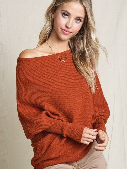This Time Around Dolman Knit- Burnt Orange- Best Seller!