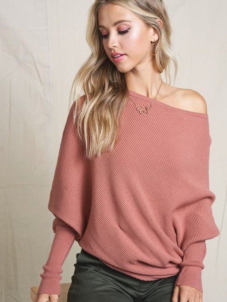 This Time Around Dolman Knit- Mauve - Best Seller!- 1 Left!