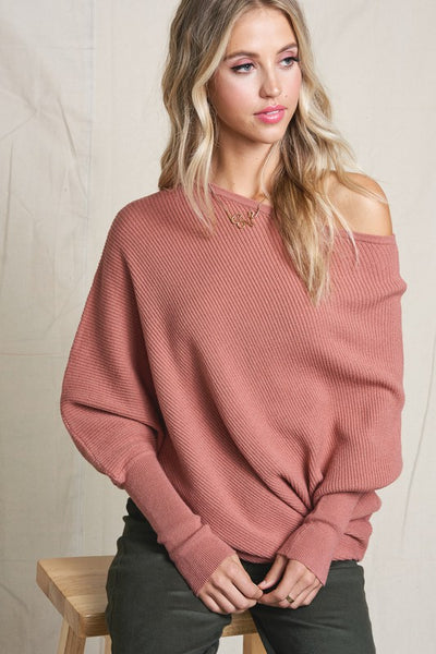 This Time Around Dolman Knit- Mauve - Best Seller!