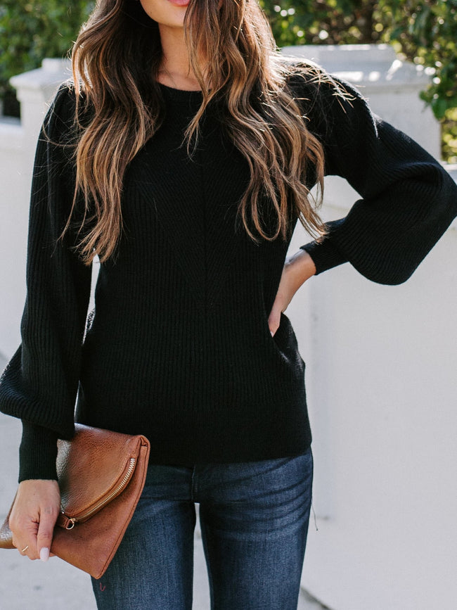 Good To Me Balloon Sleeve Sweater- Black
