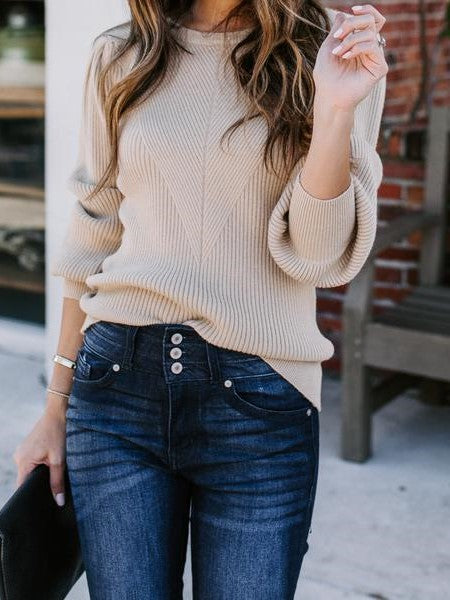 Good To Me Balloon Sleeve Sweater- Coffee