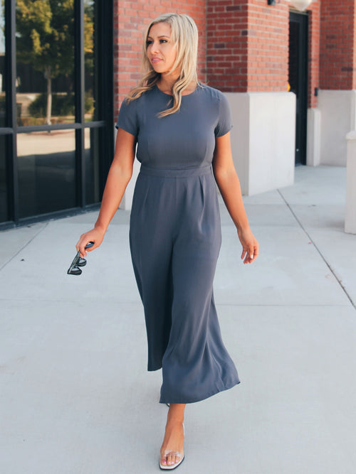 Perfect Way Pocketed Wide Leg Jumpsuit- Final Sale